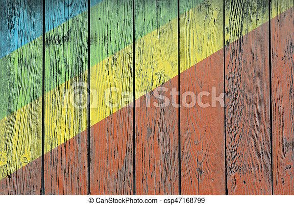 Coloured rostrum made of wooden planks - csp47168799