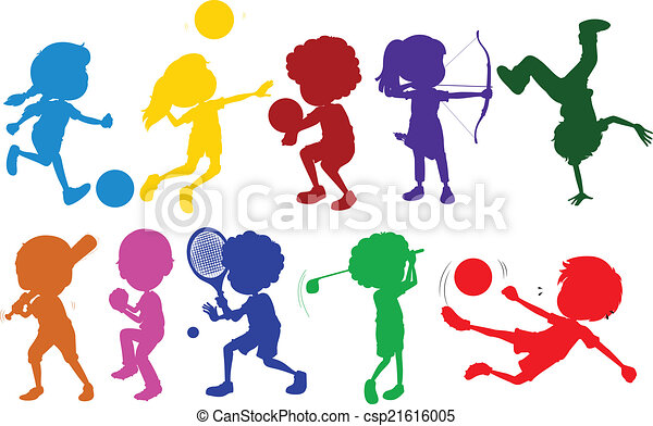 illustration of the coloured sketches of kids playing with vector rh canstockphoto com sports vector icon sports vector logos