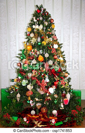 Colourful Christmas Tree - csp1741853 - Colourful Christmas Tree. A Christmas Tree Decorated With