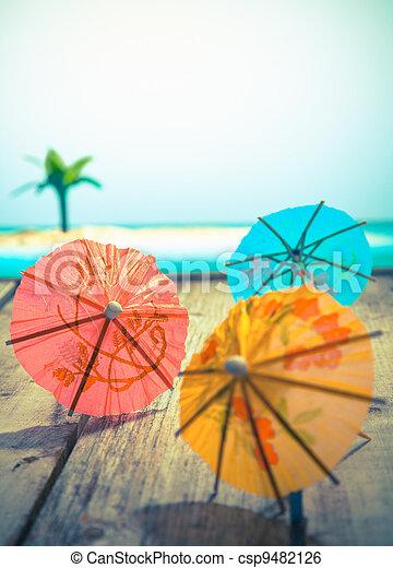 Colourful cocktail umbrellas - csp9482126
