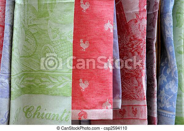 Colourful dishtowels in Chianti - csp2594110