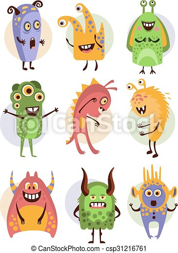 Colourful Emotional Cartoon Monsters, Vector Illustration Collection - csp31216761