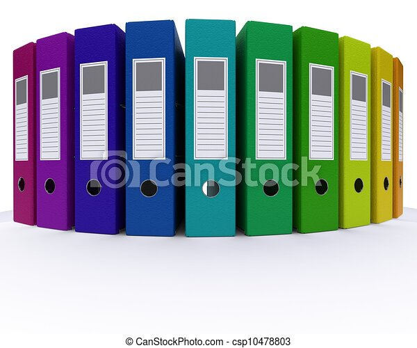 3d render of colourful folders