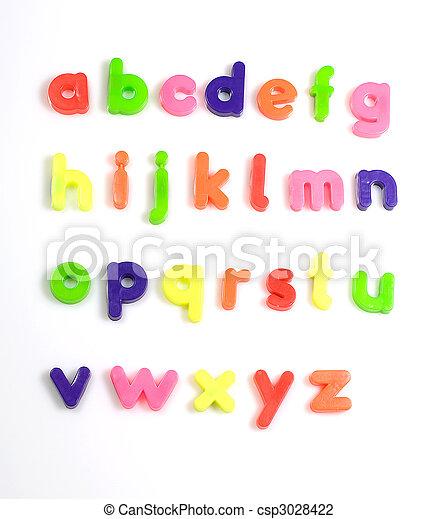colourful fridge magnet alphabet letters - csp3028422