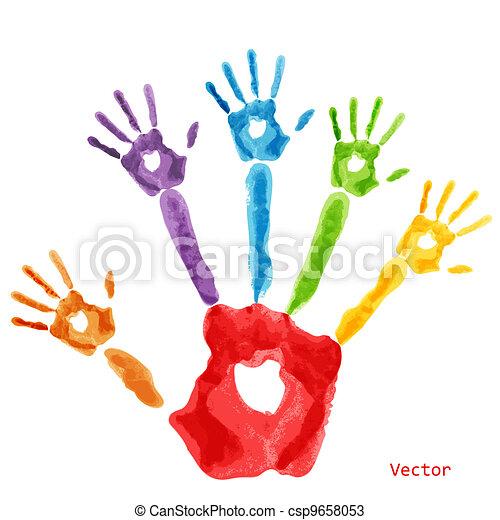 Colourful handprint paint - csp9658053