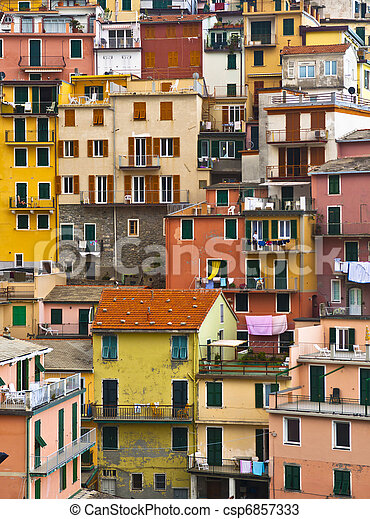 Colourful house frontings forming a beautiful background pattern. Cinque Terre - Italy. - csp6857333