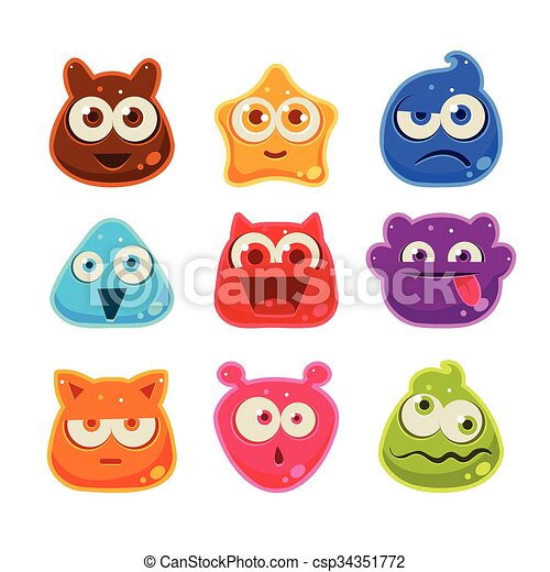 Colourful Jelly Characters with Emotions. Vector Illustration - csp34351772