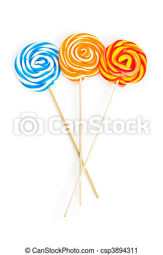 Colourful lollipop isolated on the white background - csp3894311