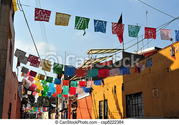 Colourful Mexican Houses - csp8222384
