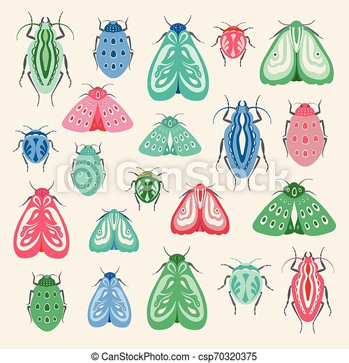 Colourful moths and beetles illustration. A collection of vector insects ideal for clip art or print projects. - csp70320375