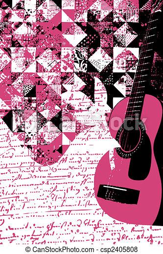 Colourful Music Guitar Illustration - csp2405808
