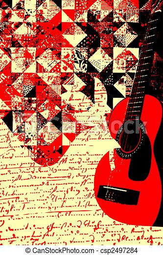 Colourful Music Guitar Illustration - csp2497284
