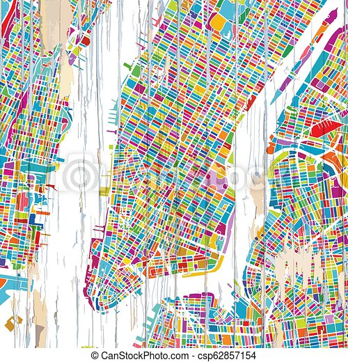 City Map Of New York City.Colourful New York City Map