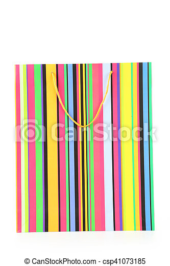 Colourful paper shopping bag isolated on white - csp41073185