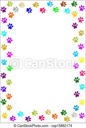 Colourful paw prints border.  - csp15862174