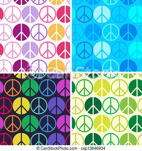 colourful peace seamless pattern - csp13646934