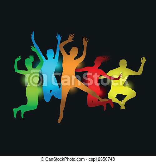 colourful people jumping - csp12350748