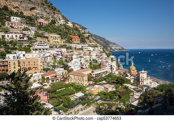 Colourful Positano, the jewel of the Amalfi Coast, with its multicoloured homes and buildings perched on a large hill overlooking the sea. Italy - csp53774653
