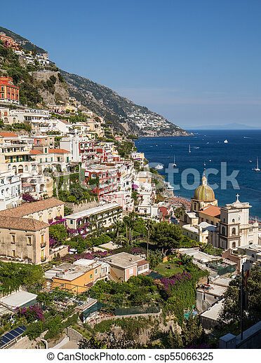 Colourful Positano, the jewel of the Amalfi Coast, with its multicoloured homes and buildings perched on a large hill overlooking the sea. Italy - csp55066325
