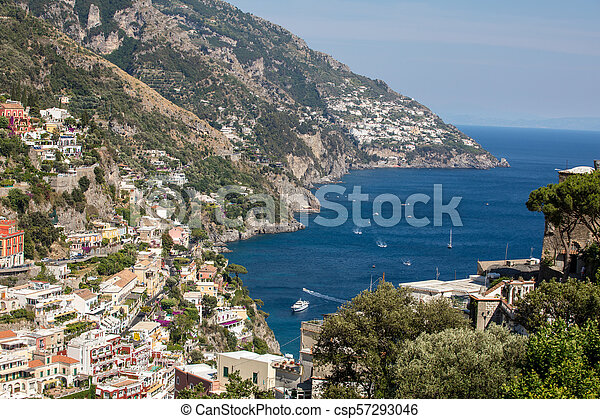 Colourful Positano, the jewel of the Amalfi Coast, with its multicoloured homes and buildings perched on a large hill overlooking the sea. Italy - csp57293046