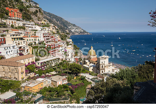 Colourful Positano, the jewel of the Amalfi Coast, with its multicoloured homes and buildings perched on a large hill overlooking the sea. Italy - csp57293047
