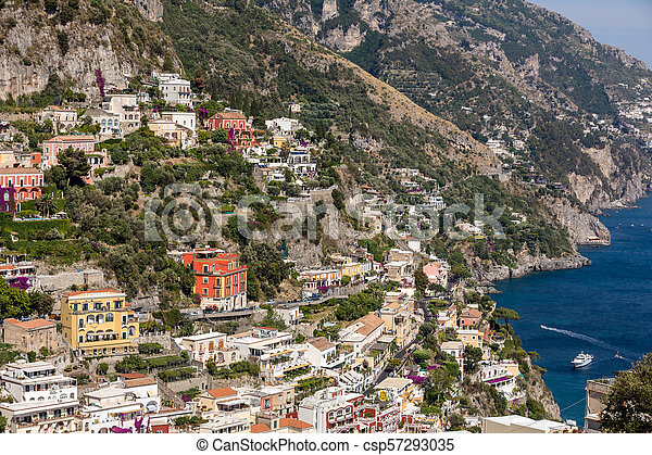 Colourful Positano, the jewel of the Amalfi Coast, with its multicoloured homes and buildings perched on a large hill overlooking the sea. Italy - csp57293035