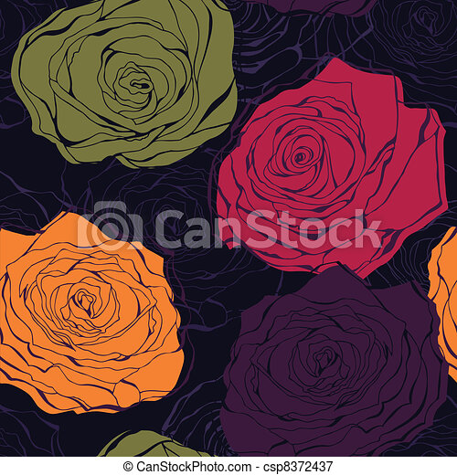 Colourful rose vector seamless pattern - csp8372437