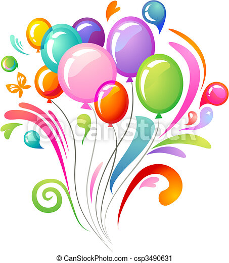 Colourful splash with balloons - csp3490631