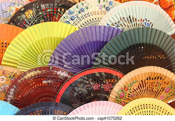 Colourful traditional spanish fans - csp41070262