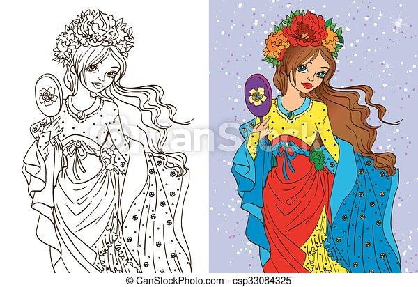Colouring book of girl with mirror. Colouring book vector ...