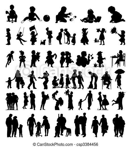 colours., famille, il, illustration, silhouettes, vecteur, noir, enfants - csp3384456