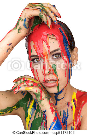 Colours Paint Dripping Down On Face