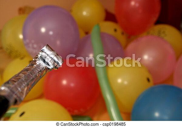 colpo, colpo, soffiando, anniversario, soffiatore, compleanno, palloni - csp0198485