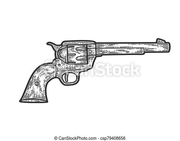 Colt revolver, cowboy gun. Apparel print design. Scratch board imitation. Black and white hand drawn image. - csp79408656