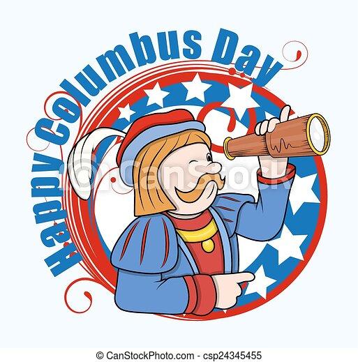 columbus, 矢量, 望远镜, 人 - csp24345455
