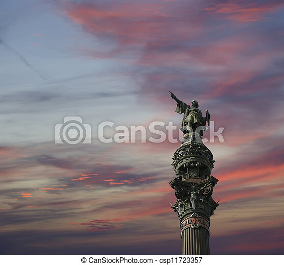 Chistopher Columbus Monument in Barcelona, Spain - csp11723357