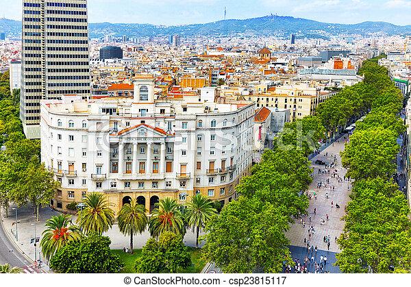 Panorama auf Barcelona City vom Columbus Monument.Barcelona. - csp23815117