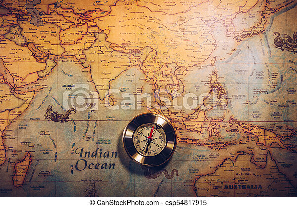 Columbus day and world map with compass - csp54817915