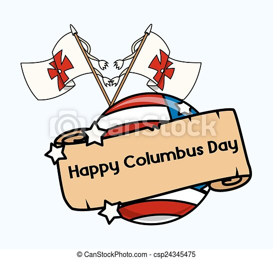 retro columbus day flags parchment banner vector vectors rh canstockphoto com christopher columbus day clipart columbus day clipart free