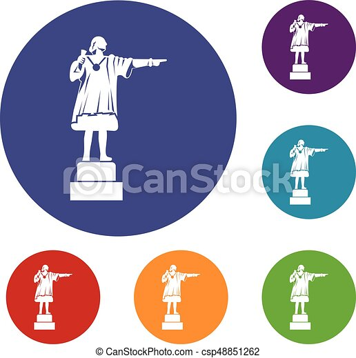 Columbus monument icons set - csp48851262