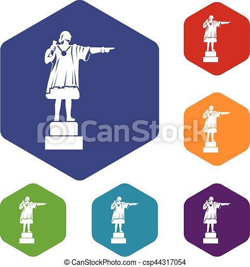 Columbus monument icons set - csp44317054