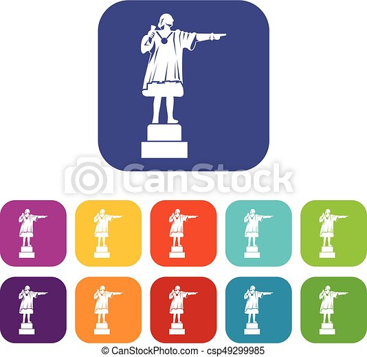 Columbus monument icons set - csp49299985