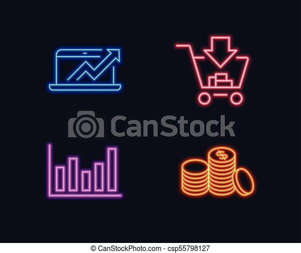 Neon Lights Set Of Column Chart Sales Diagram And Shopping Icons