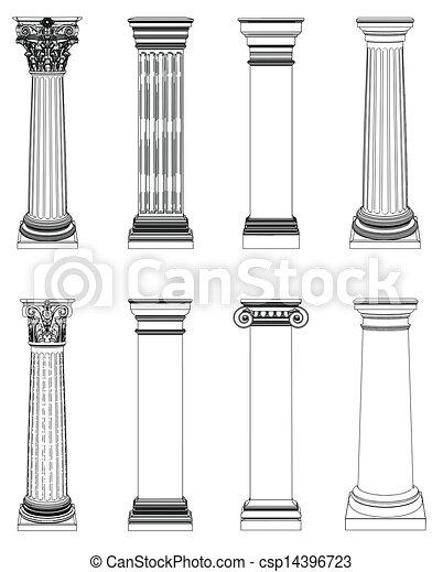 columna, griego, solo, blanco, aislado - csp14396723
