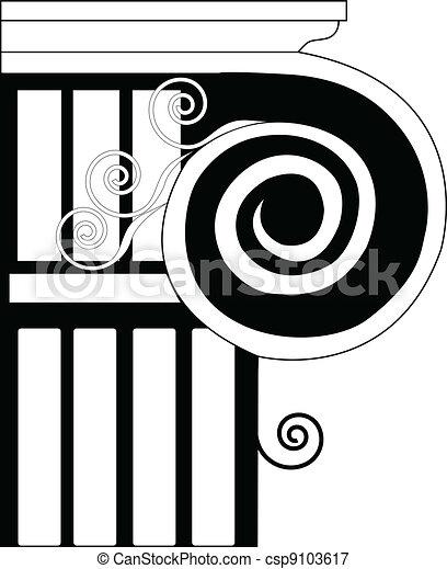 Iónico de columna, doric, histórico - csp9103617