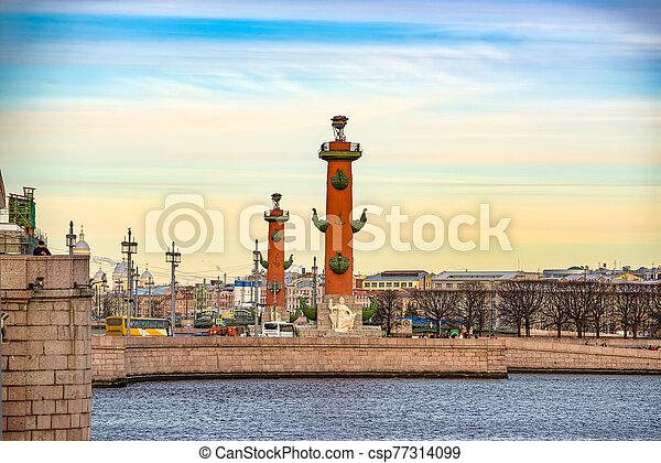 columnas, santo, rostral, saliva, island., russia., vasilievsky, petersburg. - csp77314099