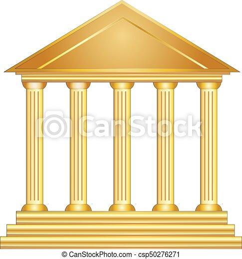 columns ancient greek historic building gold vector eps 10
