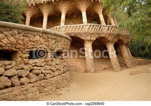 Columns designed by Antoni Gaudi. Park Guell in Barcelona Spain - csp2369640