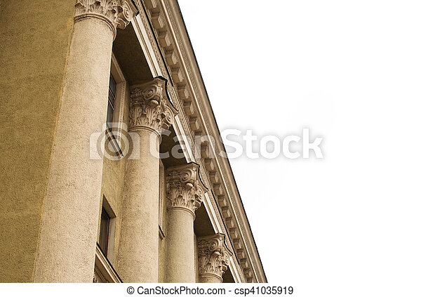 columns on the facade of an old restored building - csp41035919