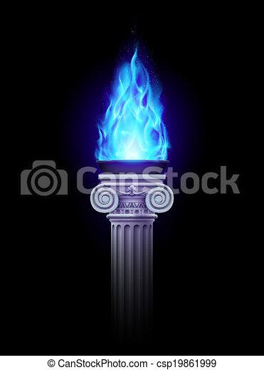 coluna, azul, fogo - csp19861999